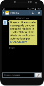 Alerte SMS maintenance site internet ERALION